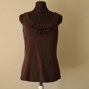 Christopher & Banks Brown Cotton Tank Top Size S